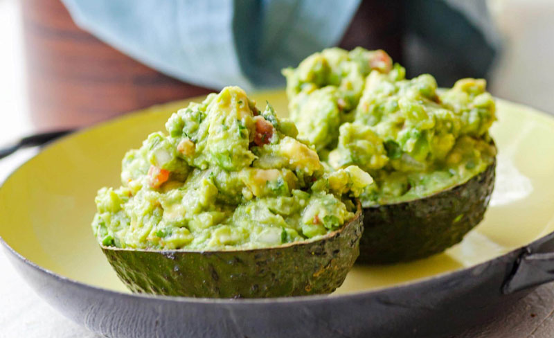 guacamole in avocado shells